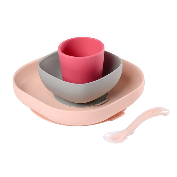 Set Vaisselle Silicone 4 pces - Rose Rose Béaba