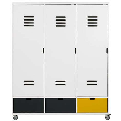 Armoire 3 portes Locker Mix & Match - Blanc Blanc Bopita
