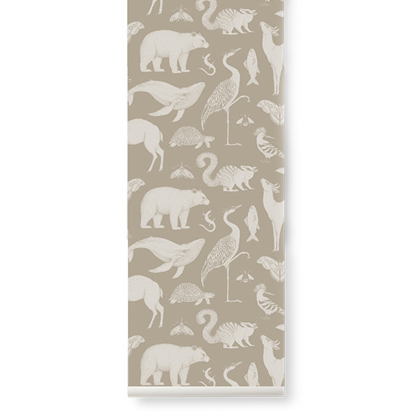 Papier Peint Katie Scott - Animaux - Sable Beige Ferm Living Kids