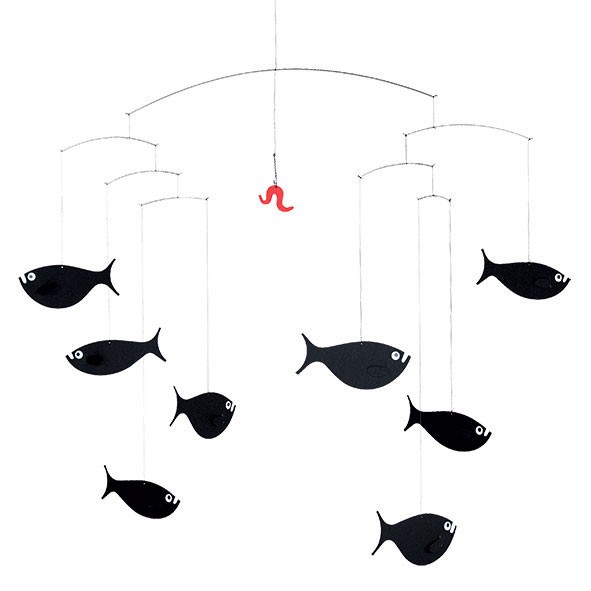Mobile Banc de poissons Noir Flensted