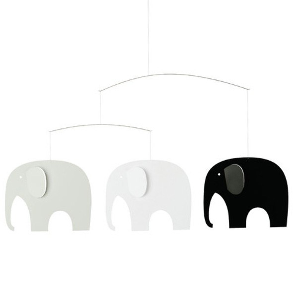 Mobile Ronde des Eléphants - Noir / Gris Multicolore Flensted