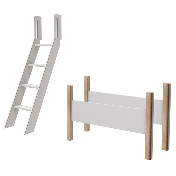 Kit de conversion lit mezzanine White - Echelle inclinée - Blanc / Bouleau Blanc Flexa