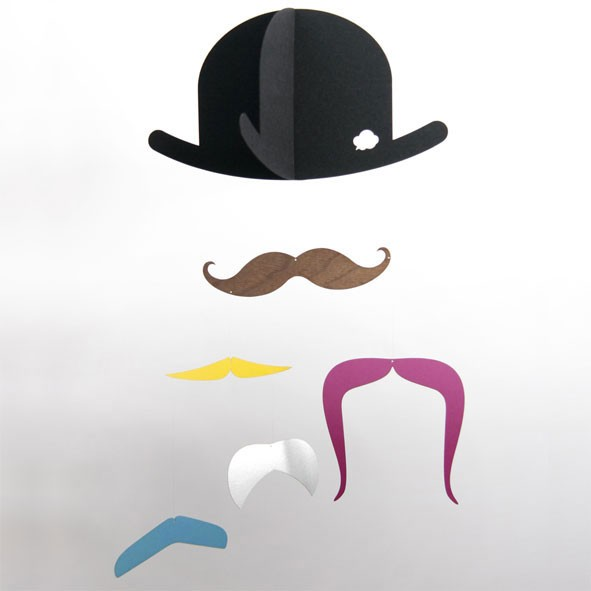 Mobile Mr. Moustache Multicolore Jäll und Tofta