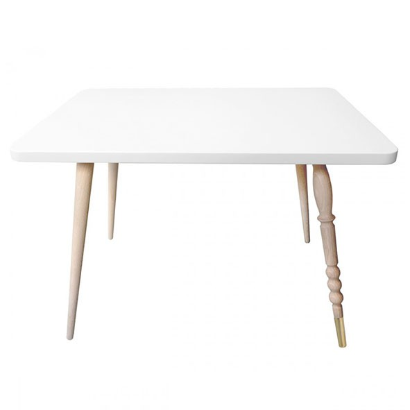 Table rectangulaire My Lovely Ballerine - Hêtre / Laiton - Blanc Blanc Jungle by Jungle