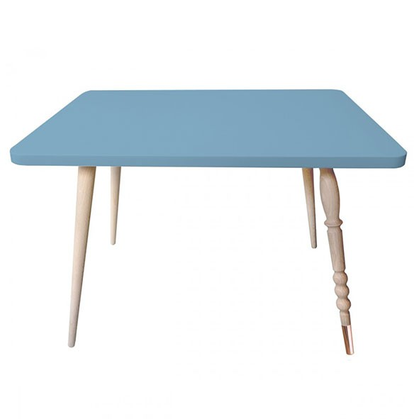 Table rectangulaire My Lovely Ballerine - Hêtre / Cuivre - Bleu Bleu Jungle by Jungle