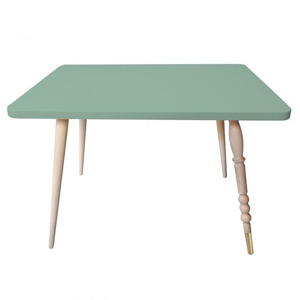 Table rectangulaire My Lovely Ballerine - Hêtre / Laiton - Vert Céladon Vert Jungle by Jungle