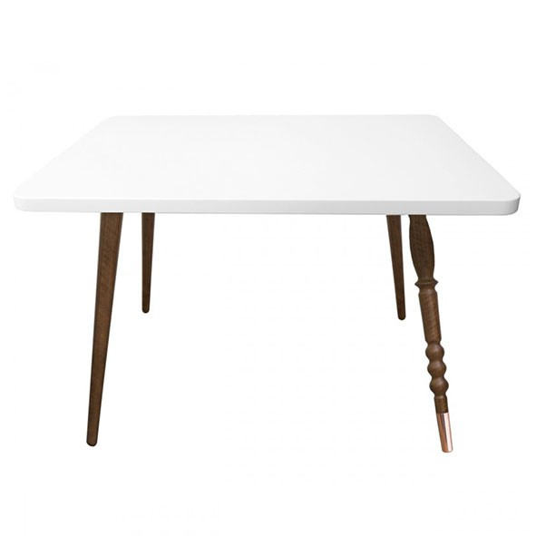 Table rectangulaire My Lovely Ballerine - Noyer / Cuivre - Blanc Blanc Jungle by Jungle