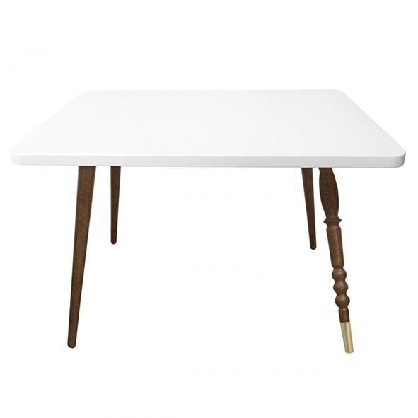 Table rectangulaire My Lovely Ballerine - Noyer / Laiton - Blanc Blanc Jungle by Jungle