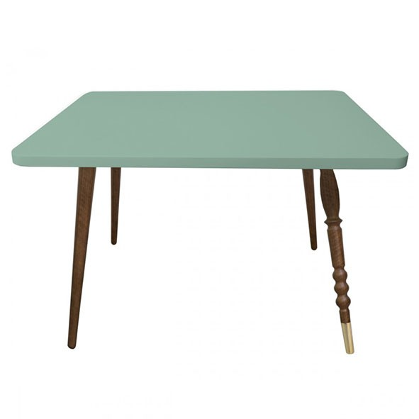 Table rectangulaire My Lovely Ballerine - Noyer / Laiton - Vert Céladon Vert Jungle by Jungle