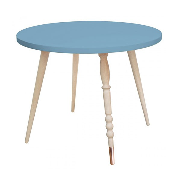 Table ronde My Lovely Ballerine - Hêtre / Cuivre - Bleu Bleu Jungle by Jungle