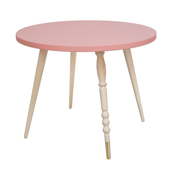Table ronde My Lovely Ballerine - Hêtre / Laiton - Rose Rose Jungle by Jungle