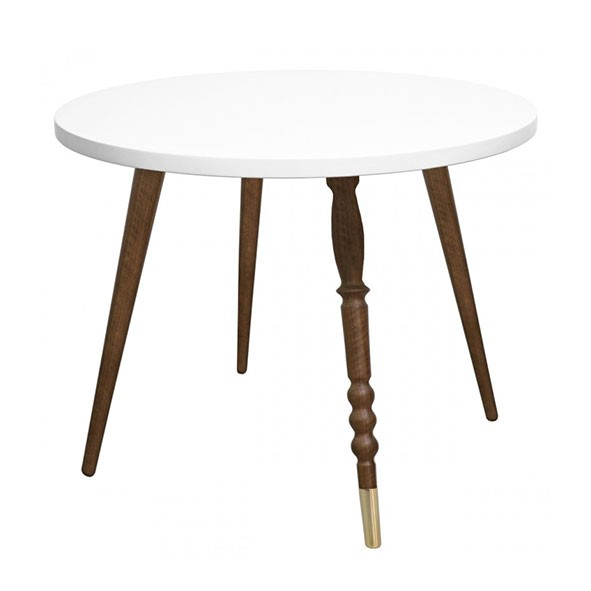Table ronde My Lovely Ballerine - Noyer / Laiton - Blanc Blanc Jungle by Jungle