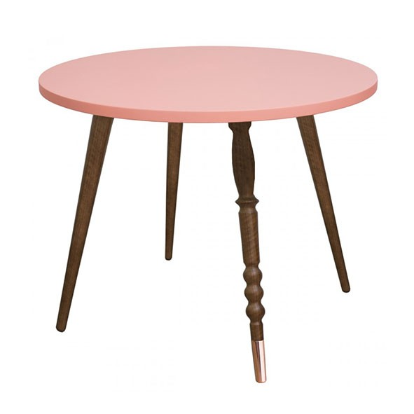 Table ronde My Lovely Ballerine - Noyer / Cuivre - Rose Rose Jungle by Jungle