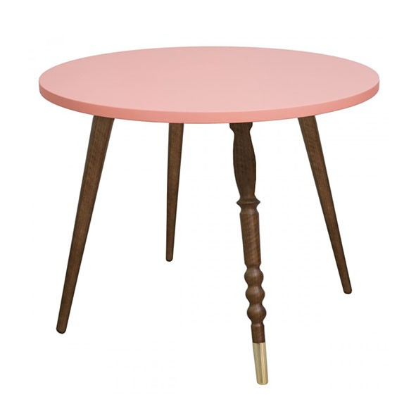 Table ronde My Lovely Ballerine - Noyer / Laiton - Rose Rose Jungle by Jungle