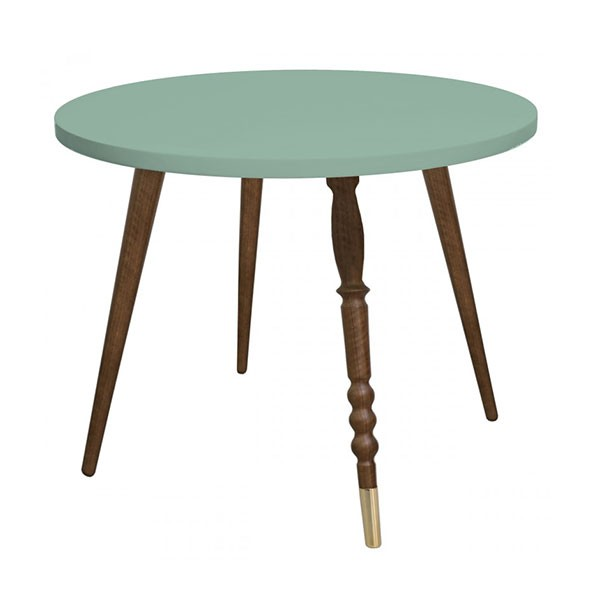 Table ronde My Lovely Ballerine - Noyer / Laiton - Vert Céladon  Vert Jungle by Jungle