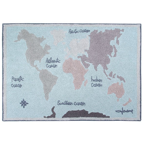 Tapis Back to School 140 x 200 cm - Carte Vintage Bleu Lorena Canals