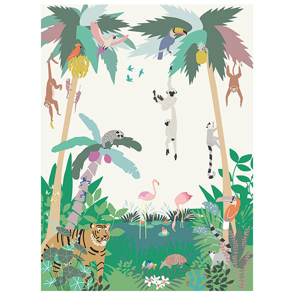 Fresque de Papier Peint - Jungle Multicolore MIMI'lou