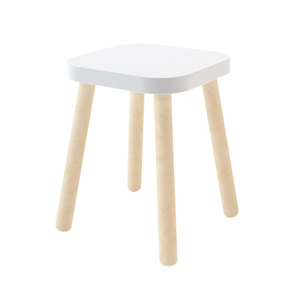 Tabouret Carré Blanc Oeuf NYC