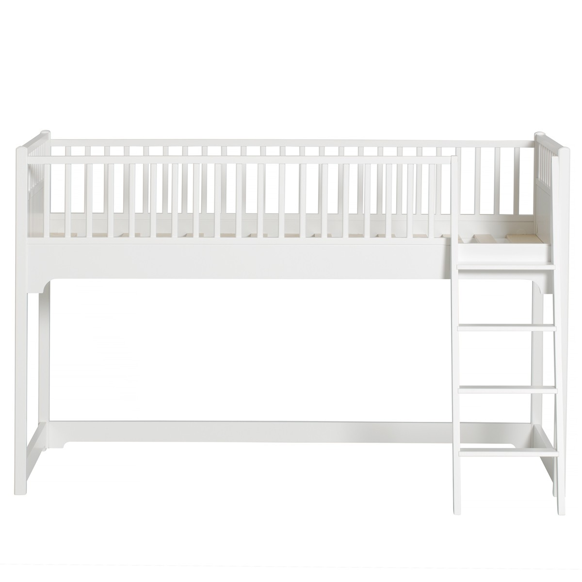 Lit mezzanine mi-hauteur Seaside (131 cm) Blanc Oliver Furniture