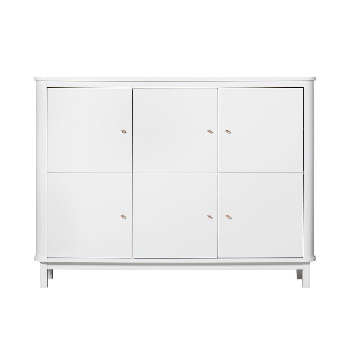 Armoire basse 3 portes multi-usage Wood - Blanc Blanc Oliver Furniture