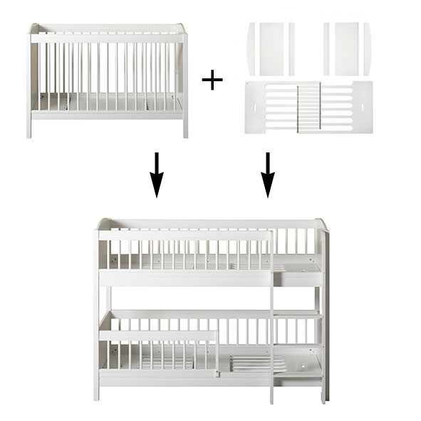 Kit de conversion Lille+ - Lit bébé + Kit famille à lit superposé mi-hauteur Blanc Oliver Furniture