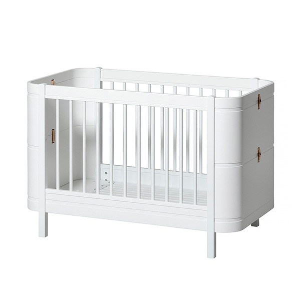 Lit bébé évolutif Wood Mini+ avec kit de conversion (0-9 ans) - Blanc Blanc Oliver Furniture