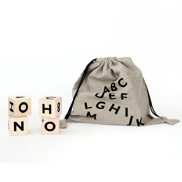 Cubes alphabet - Noir  Naturel Ooh Noo