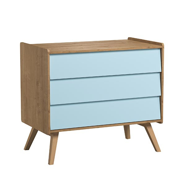 Commode 3 tiroirs Vintage - Nature / Bleu Naturel Vox