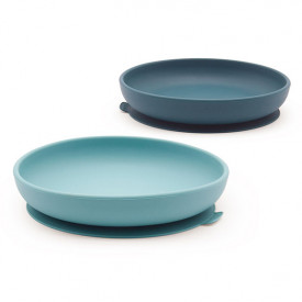 Set 2 assiettes ventouse silicone - Blue Abyss / Lagoon