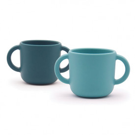 Set 2 tasses d'apprentissage silicone - Blue Abyss / Lagoon