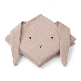 Lot de 2 petits langes Lapin - Rose