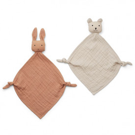 Set de 2 mini doudous Yoko - Rose / Beige