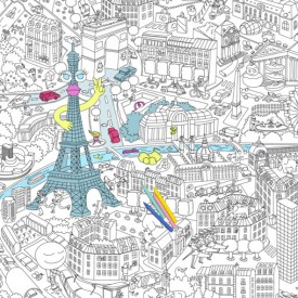 Coloriage géant Paris Blanc OMY Design & Play