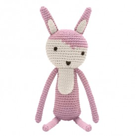 Lapin en crochet Rose