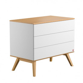 Commode 3 tiroirs Nature - Blanc