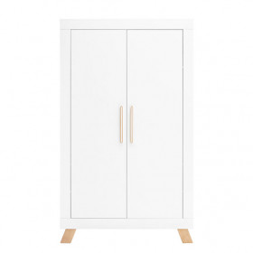 Armoire 2 portes Lisa - Blanc / Naturel