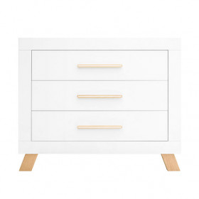 Commode 3 tiroirs Lisa - Blanc / Naturel