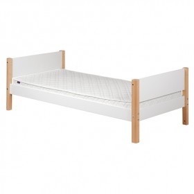 Lit simple White 90 x 200 cm - Blanc / Bouleau