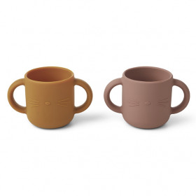 Set de 2 Tasses Silicone - Chat Rose