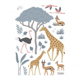 Planche de Stickers (A3) - Girafe, Gazelle et Flamand