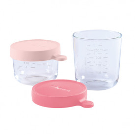 Coffret 2 portions Verre 150ml et 250ml - Rose pâle / Rose Multicolore Béaba