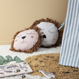 Coussin Lion Safari - Naturel  Gris Ferm Living Kids