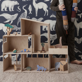 Boite de figurines en bois Animaux - Safari Multicolore Ferm Living Kids