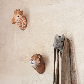Patère en Bois Sculpté - Lion Marron / Taupe Ferm Living Kids