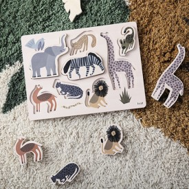 Puzzle en bois Safari Multicolore Ferm Living Kids