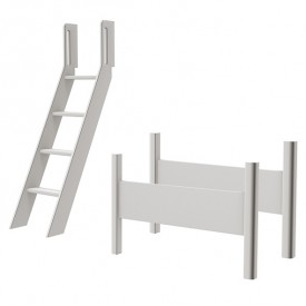 Kit de conversion lit mezzanine White - Echelle inclinée - Blanc Blanc Flexa