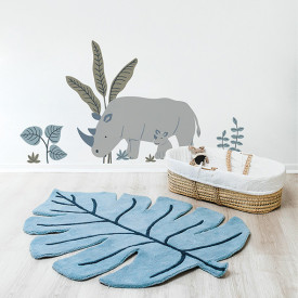 Tapis Monstera Bleu Bleu Lilipinso