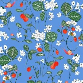 Papier Peint Strawberry Fields Bleu Multicolore Little Cabari