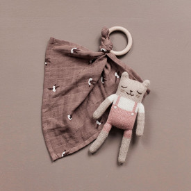 Doudou Chaton - Salopette Rose Rose Main Sauvage