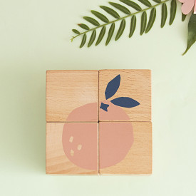Cubes en bois - Fruits Multicolore Nobodinoz